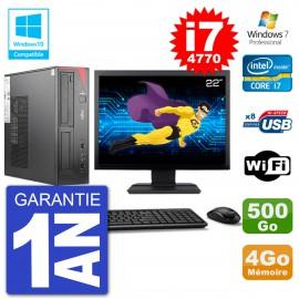 """PC Fujitsu Esprimo E520 DT Ecran 22"""" i7-4770 4Go 500Go Graveur DVD Wifi W7"""