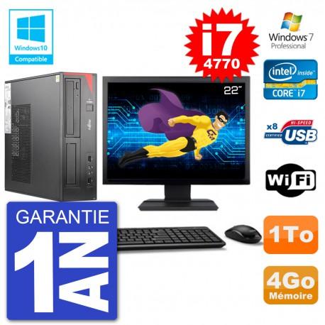 "PC Fujitsu Esprimo E520 DT Ecran 22"" i7-4770 4Go Disque 1To Graveur DVD Wifi W7"