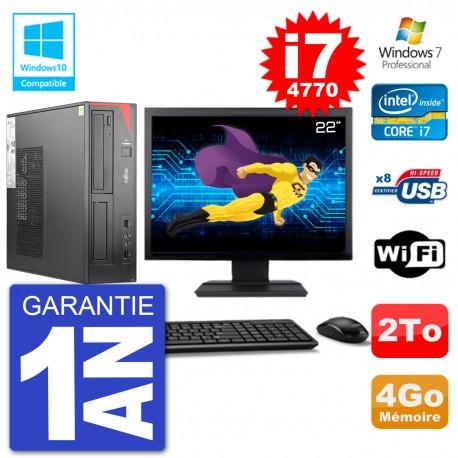 "PC Fujitsu Esprimo E520 DT Ecran 22"" i7-4770 4Go Disque 2To Graveur DVD Wifi W7"