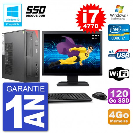 """PC Fujitsu Esprimo E520 DT Ecran 22"""" i7-4770 4Go SSD 120Go Graveur DVD Wifi W7"""