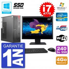 """PC Fujitsu Esprimo E520 DT Ecran 22"""" i7-4770 4Go SSD 240Go Graveur DVD Wifi W7"""