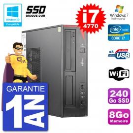 PC Fujitsu Esprimo E520 DT i7-4770 RAM 8Go SSD 240Go Graveur DVD Wifi W7