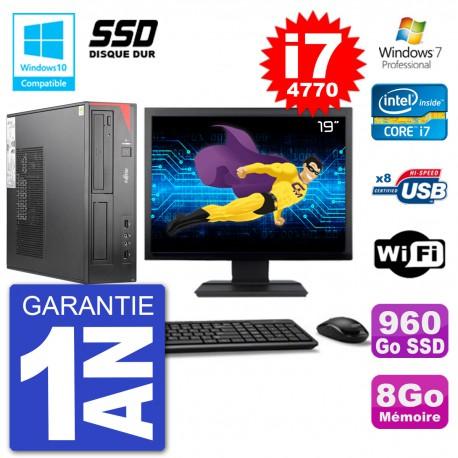 """PC Fujitsu Esprimo E520 DT Ecran 19"""" i7-4770 8Go SSD 960Go Graveur DVD Wifi W7"""