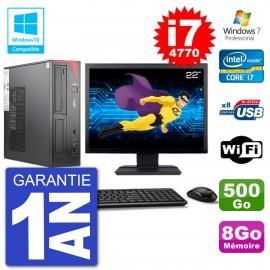 """PC Fujitsu Esprimo E520 DT Ecran 22"""" i7-4770 8Go 500Go Graveur DVD Wifi W7"""