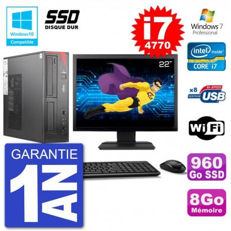 """PC Fujitsu Esprimo E520 DT Ecran 22"""" i7-4770 8Go SSD 960Go Graveur DVD Wifi W7"""