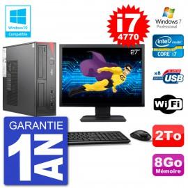 "PC Fujitsu Esprimo E520 DT Ecran 27"" i7-4770 8Go Disque 2To Graveur DVD Wifi W7"