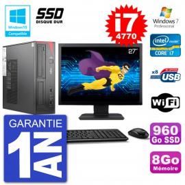 """PC Fujitsu Esprimo E520 DT Ecran 27"""" i7-4770 8Go SSD 960Go Graveur DVD Wifi W7"""