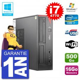 PC Fujitsu Esprimo E520 DT i7-4770 RAM 16Go Disque 500Go Graveur DVD Wifi W7