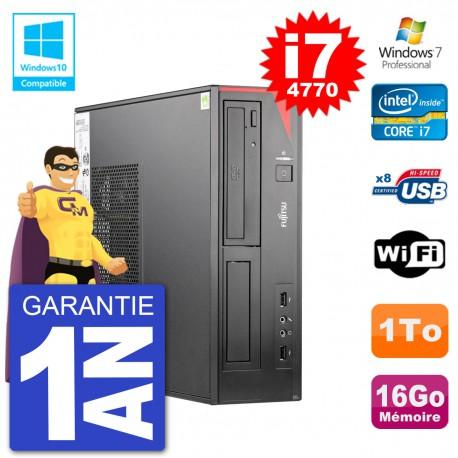 PC Fujitsu Esprimo E520 DT i7-4770 RAM 16Go Disque 1To Graveur DVD Wifi W7