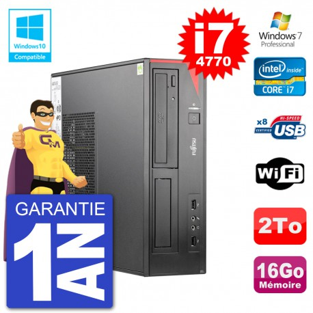 PC Fujitsu Esprimo E520 DT i7-4770 RAM 16Go Disque 2To Graveur DVD Wifi W7