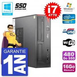 PC Fujitsu Esprimo E520 DT i7-4770 RAM 16Go SSD 480Go Graveur DVD Wifi W7
