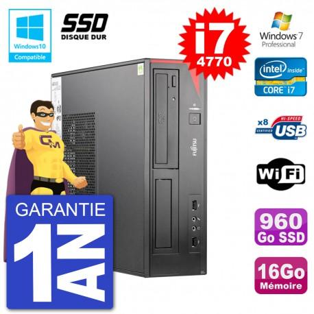 PC Fujitsu Esprimo E520 DT i7-4770 RAM 16Go SSD 960Go Graveur DVD Wifi W7