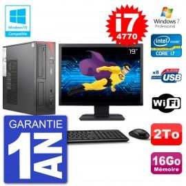 "PC Fujitsu Esprimo E520 DT Ecran 19"" i7-4770 16Go Disque 2To Graveur DVD Wifi W7"