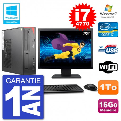 "PC Fujitsu Esprimo E520 DT Ecran 22"" i7-4770 16Go Disque 1To Graveur DVD Wifi W7"