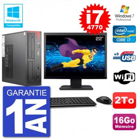 "PC Fujitsu Esprimo E520 DT Ecran 22"" i7-4770 16Go Disque 2To Graveur DVD Wifi W7"