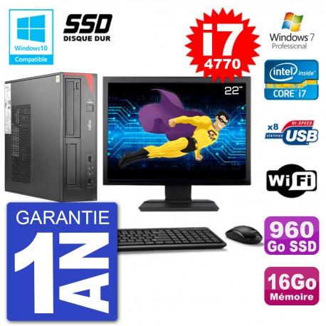 """PC Fujitsu Esprimo E520 DT Ecran 22"""" i7-4770 16Go SSD 960Go Graveur DVD Wifi W7"""
