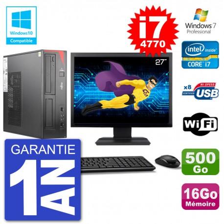 """PC Fujitsu Esprimo E520 DT Ecran 27"""" i7-4770 16Go 500Go Graveur DVD Wifi W7"""