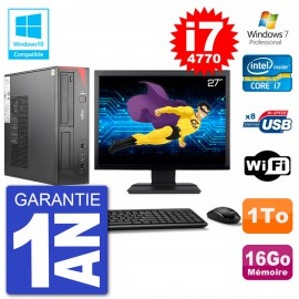 "PC Fujitsu Esprimo E520 DT Ecran 27"" i7-4770 16Go Disque 1To Graveur DVD Wifi W7"