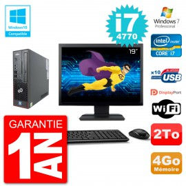 "PC Fujitsu Esprimo C720 SFF Ecran 19"" i7-4770 4Go Disque 2To Graveur DVD Wifi W7"