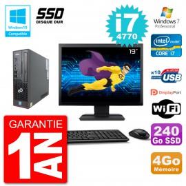 "PC Fujitsu Esprimo C720 SFF Ecran 19"" i7-4770 4Go SSD 240Go Graveur DVD Wifi W7"