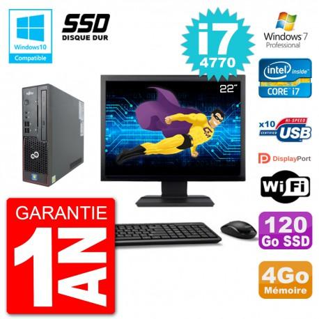 "PC Fujitsu Esprimo C720 SFF Ecran 22"" i7-4770 4Go SSD 120Go Graveur DVD Wifi W7"