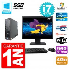 "PC Fujitsu Esprimo C720 SFF Ecran 22"" i7-4770 4Go SSD 960Go Graveur DVD Wifi W7"