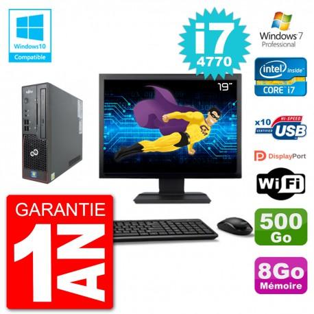 "PC Fujitsu Esprimo C720 SFF Ecran 19"" i7-4770 8Go 500Go Graveur DVD Wifi W7"