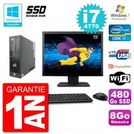 "PC Fujitsu Esprimo C720 SFF Ecran 19"" i7-4770 8Go SSD 480Go Graveur DVD Wifi W7"