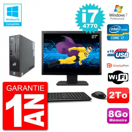 "PC Fujitsu Esprimo C720 SFF Ecran 27"" i7-4770 8Go Disque 2To Graveur DVD Wifi W7"
