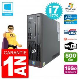 PC Fujitsu Esprimo C720 SFF i7-4770 RAM 16Go Disque 500Go Graveur DVD Wifi W7