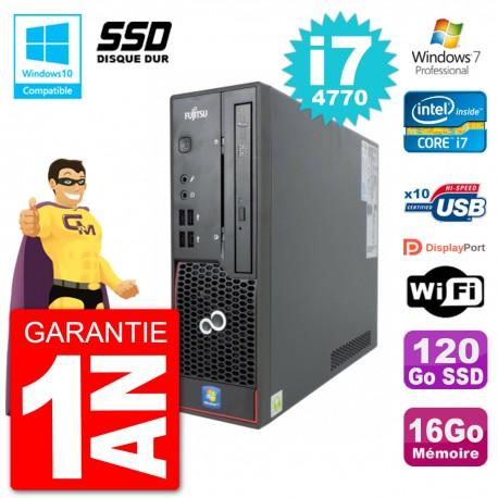 PC Fujitsu Esprimo C720 SFF i7-4770 RAM 16Go SSD 120Go Graveur DVD Wifi W7