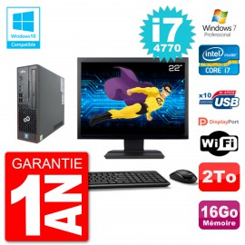 "PC Fujitsu Esprimo C720 SFF Ecran 22"" i7-4770 16Go Disque 2To Graveur DVD Wifi W7"
