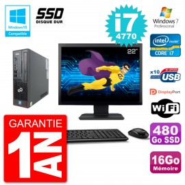"PC Fujitsu Esprimo C720 SFF Ecran 22"" i7-4770 16Go SSD 480Go Graveur DVD Wifi W7"