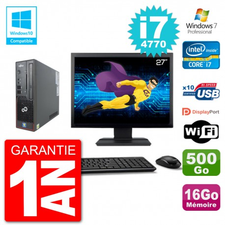 "PC Fujitsu Esprimo C720 SFF Ecran 27"" i7-4770 16Go 500Go Graveur DVD Wifi W7"