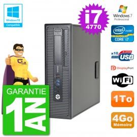 PC HP EliteDesk 800 G1 SFF i7-4770 RAM 4Go Disque 1To Graveur DVD Wifi W7