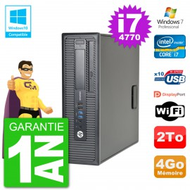 PC HP EliteDesk 800 G1 SFF i7-4770 RAM 4Go Disque 2To Graveur DVD Wifi W7