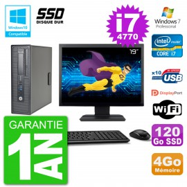 "PC HP EliteDesk 800 G1 SFF Ecran 19"" i7-4770 4Go SSD 120Go Graveur DVD Wifi W7"