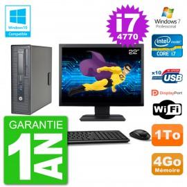 """PC HP EliteDesk 800 G1 SFF Ecran 22"""" i7-4770 4Go Disque 1To Graveur DVD Wifi W7"""