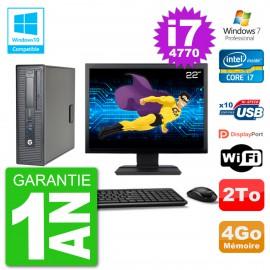 """PC HP EliteDesk 800 G1 SFF Ecran 22"""" i7-4770 4Go Disque 2To Graveur DVD Wifi W7"""