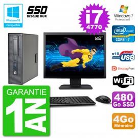 "PC HP EliteDesk 800 G1 SFF Ecran 22"" i7-4770 4Go SSD 480Go Graveur DVD Wifi W7"
