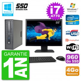 "PC HP EliteDesk 800 G1 SFF Ecran 22"" i7-4770 4Go SSD 960Go Graveur DVD Wifi W7"