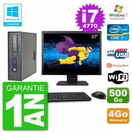 """PC HP EliteDesk 800 G1 SFF Ecran 27"""" i7-4770 4Go 500Go Graveur DVD Wifi W7"""