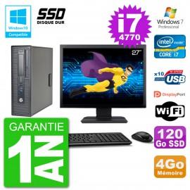 "PC HP EliteDesk 800 G1 SFF Ecran 27"" i7-4770 4Go SSD 120Go Graveur DVD Wifi W7"