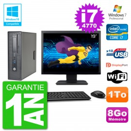 """PC HP EliteDesk 800 G1 SFF Ecran 19"""" i7-4770 8Go Disque 1To Graveur DVD Wifi W7"""