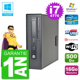 PC HP EliteDesk 800 G1 SFF i7-4770 RAM 16Go Disque 500Go Graveur DVD Wifi W7