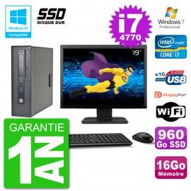 "PC HP EliteDesk 800 G1 SFF Ecran 19"" i7-4770 16Go SSD 960Go Graveur DVD Wifi W7"