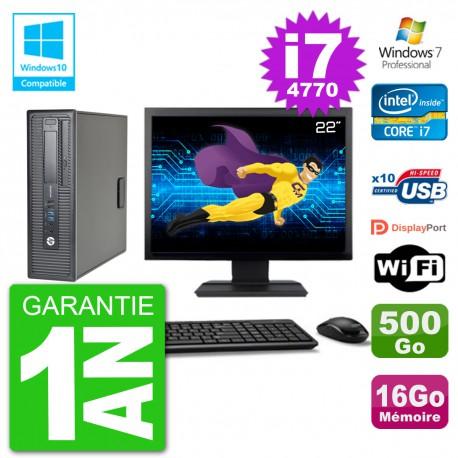 """PC HP EliteDesk 800 G1 SFF Ecran 22"""" i7-4770 16Go 500Go Graveur DVD Wifi W7"""