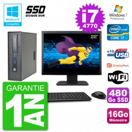 "PC HP EliteDesk 800 G1 SFF Ecran 22"" i7-4770 16Go SSD 480Go Graveur DVD Wifi W7"