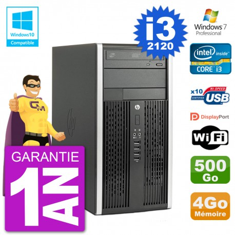 PC HP 6300 MT Intel Core I3-2120 RAM 4Go Disque 500Go Graveur DVD Wifi W7