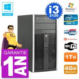 PC HP 6300 MT Intel Core I3-2120 RAM 4Go Disque Dur 1To Graveur DVD Wifi W7